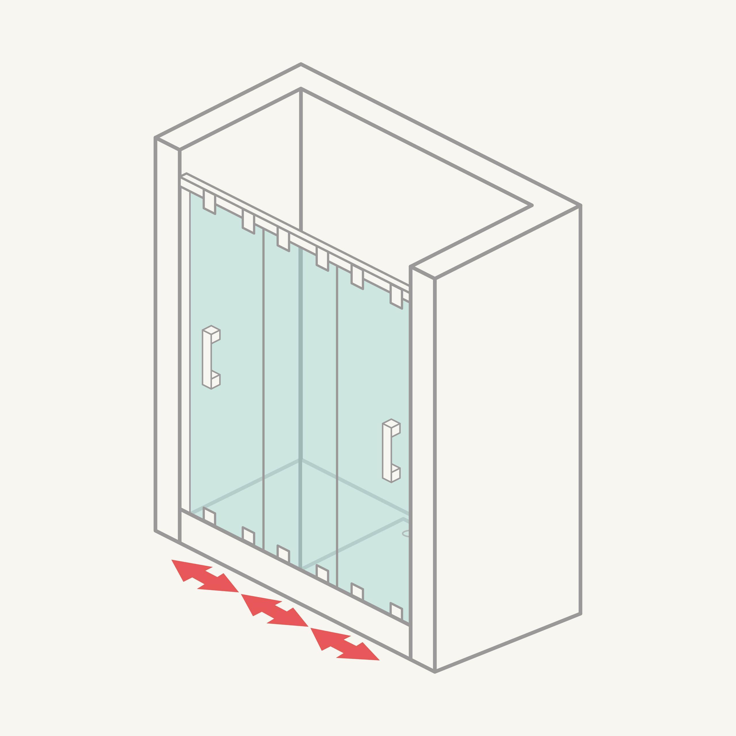 Mampara de ducha frontal de 3 puertas correderas