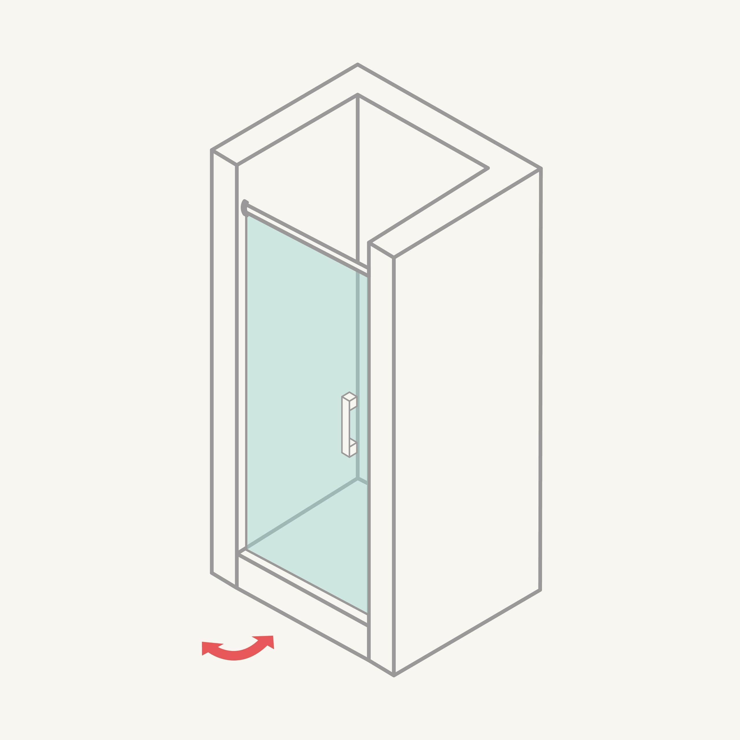 Mampara de ducha frontal: puertas abatibles