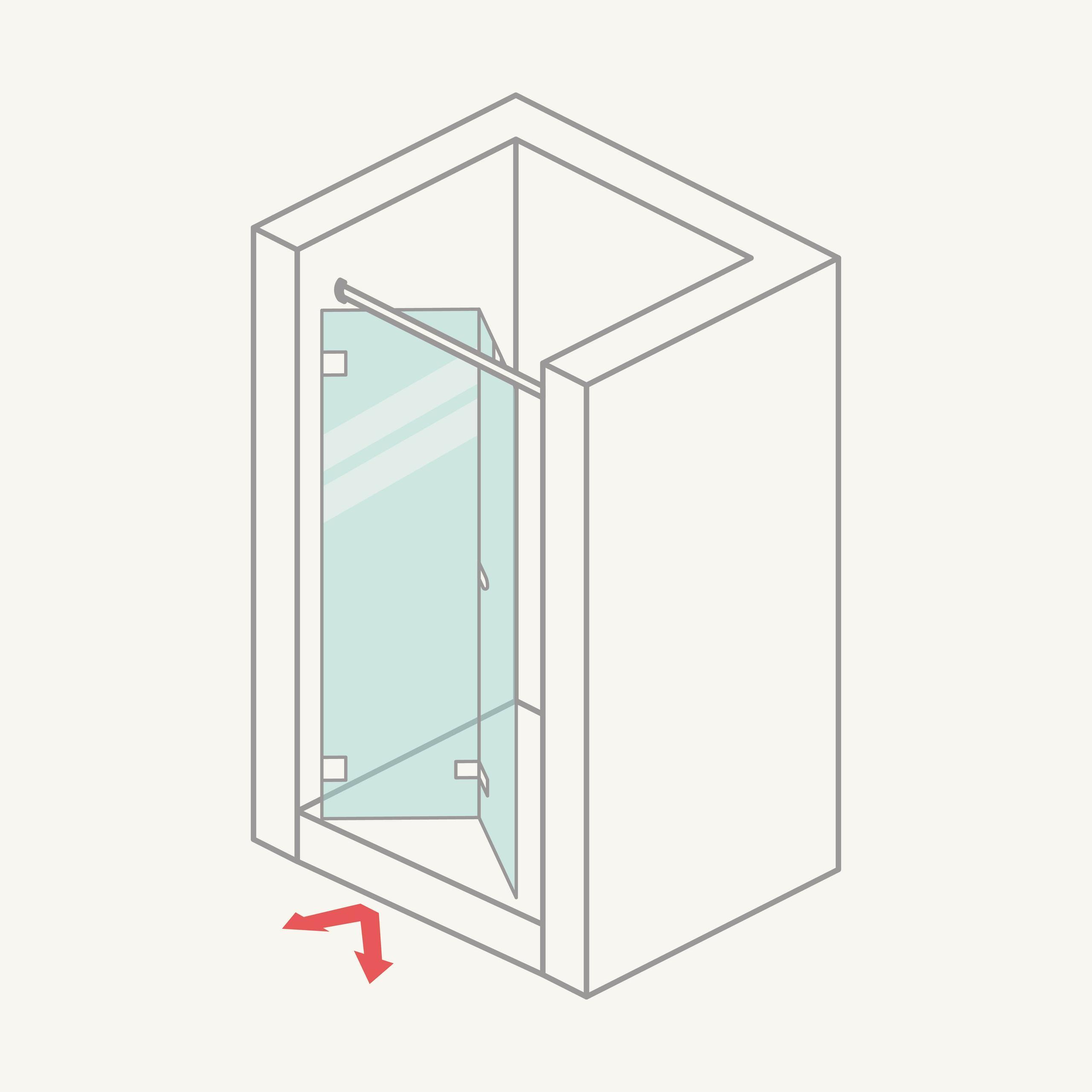 Mampara de ducha frontal: puertas plegables