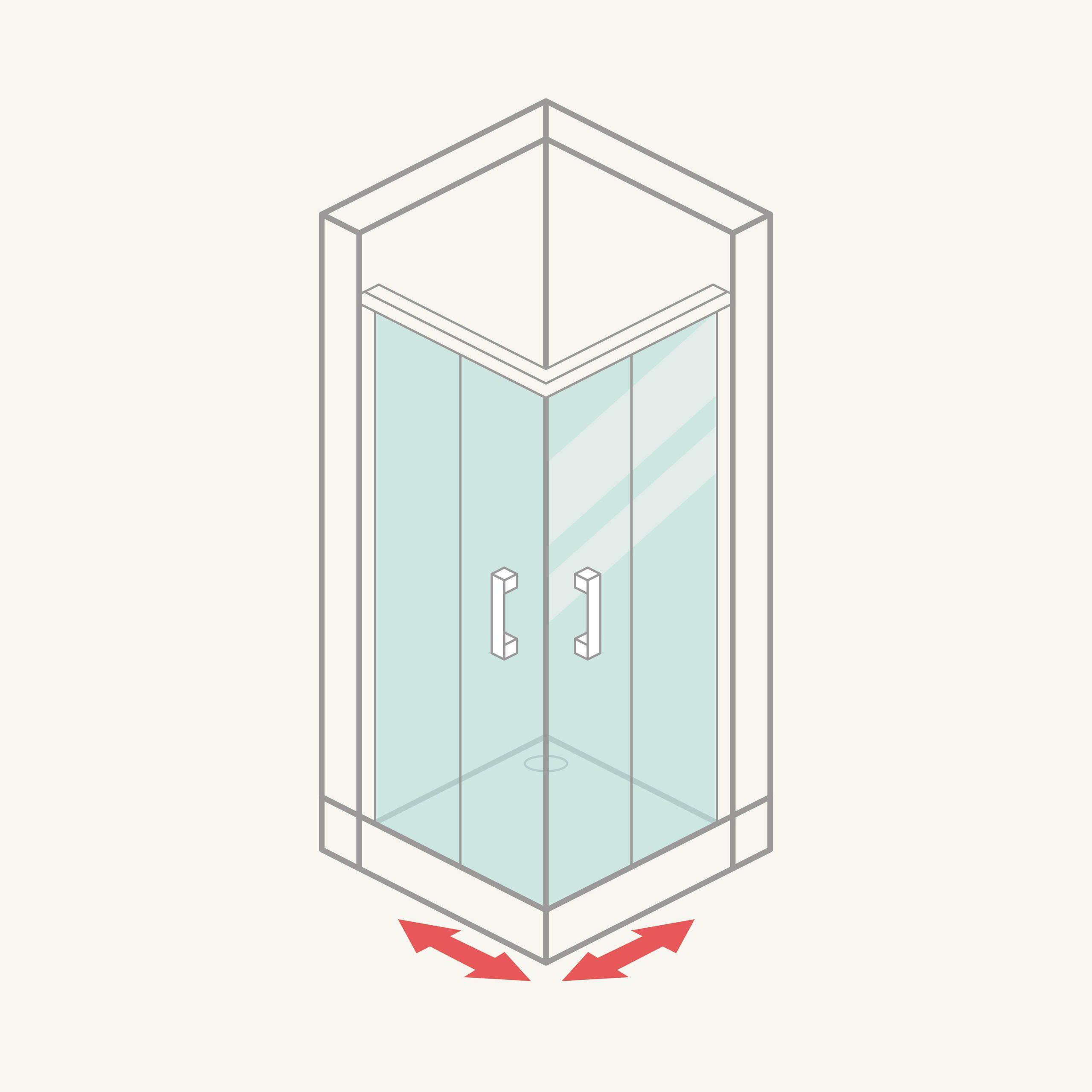 Mampara de ducha angular (2 fijas + 2 correderas)