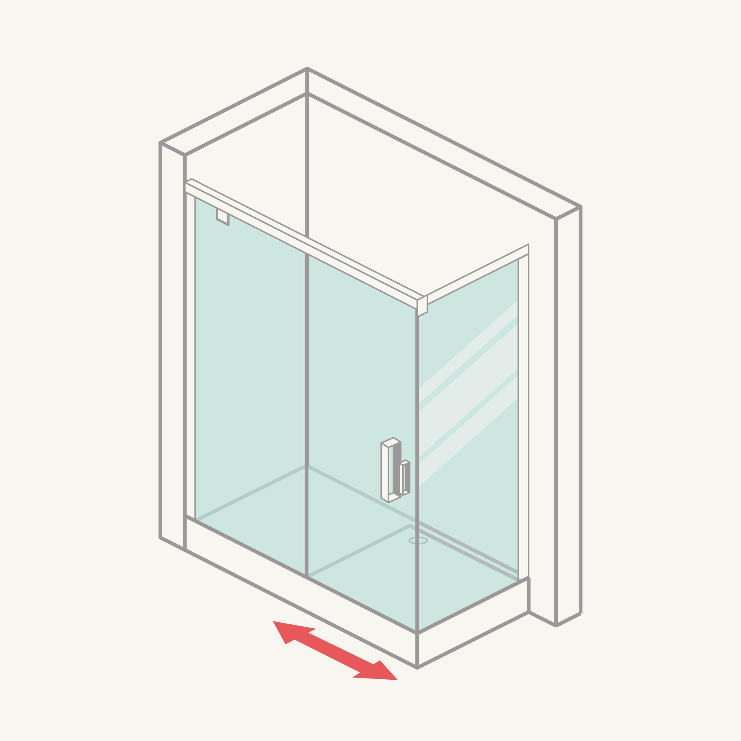 Mampara de ducha angular: frontal (1 fija + 1 corredera) y lateral fijo