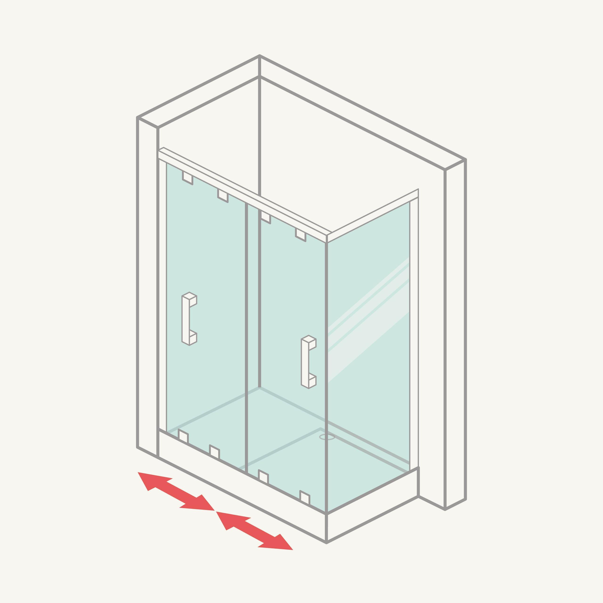 Mampara de ducha angular: frontal (2 correderas) y lateral fijo