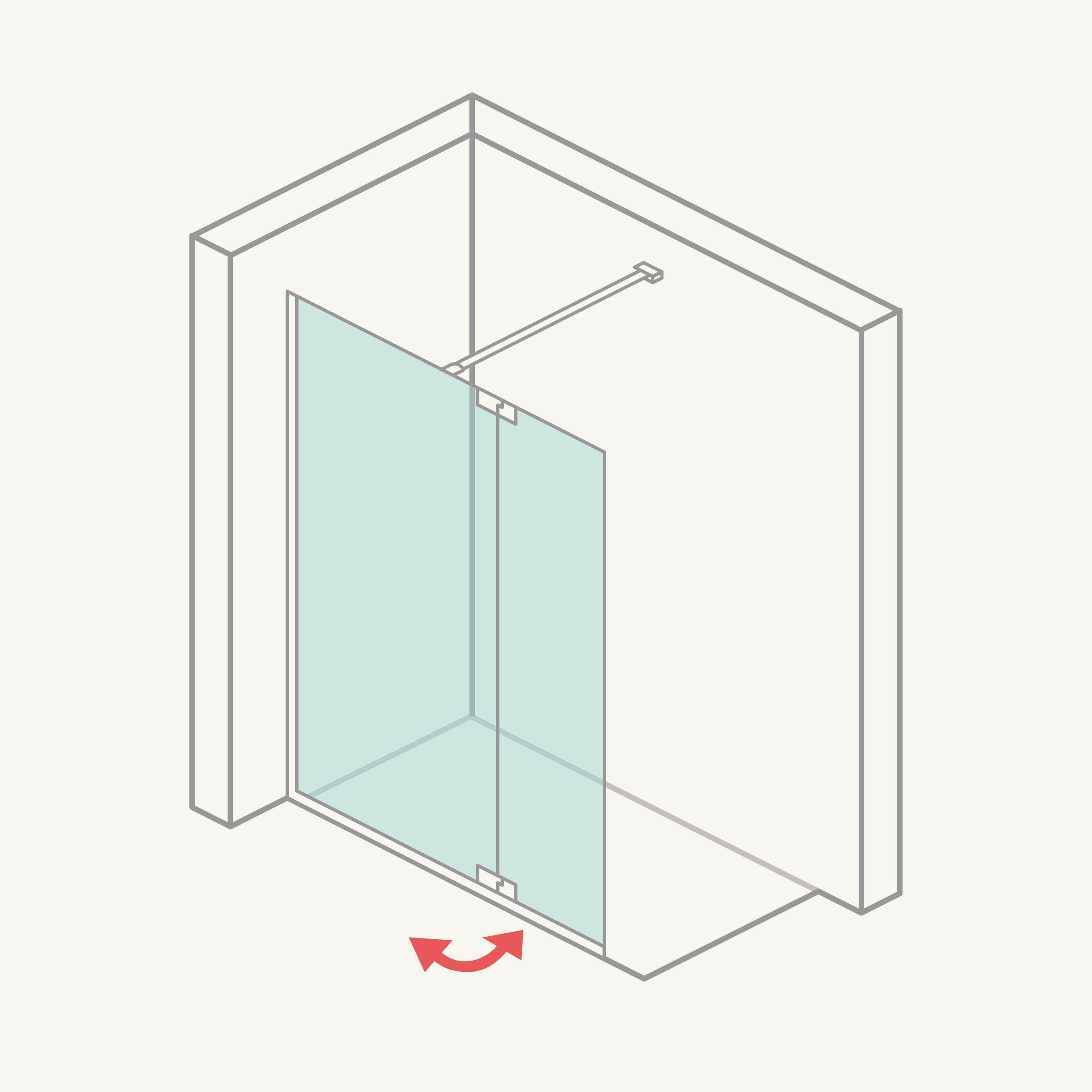 Mampara de ducha: panel fijo + hoja abatible