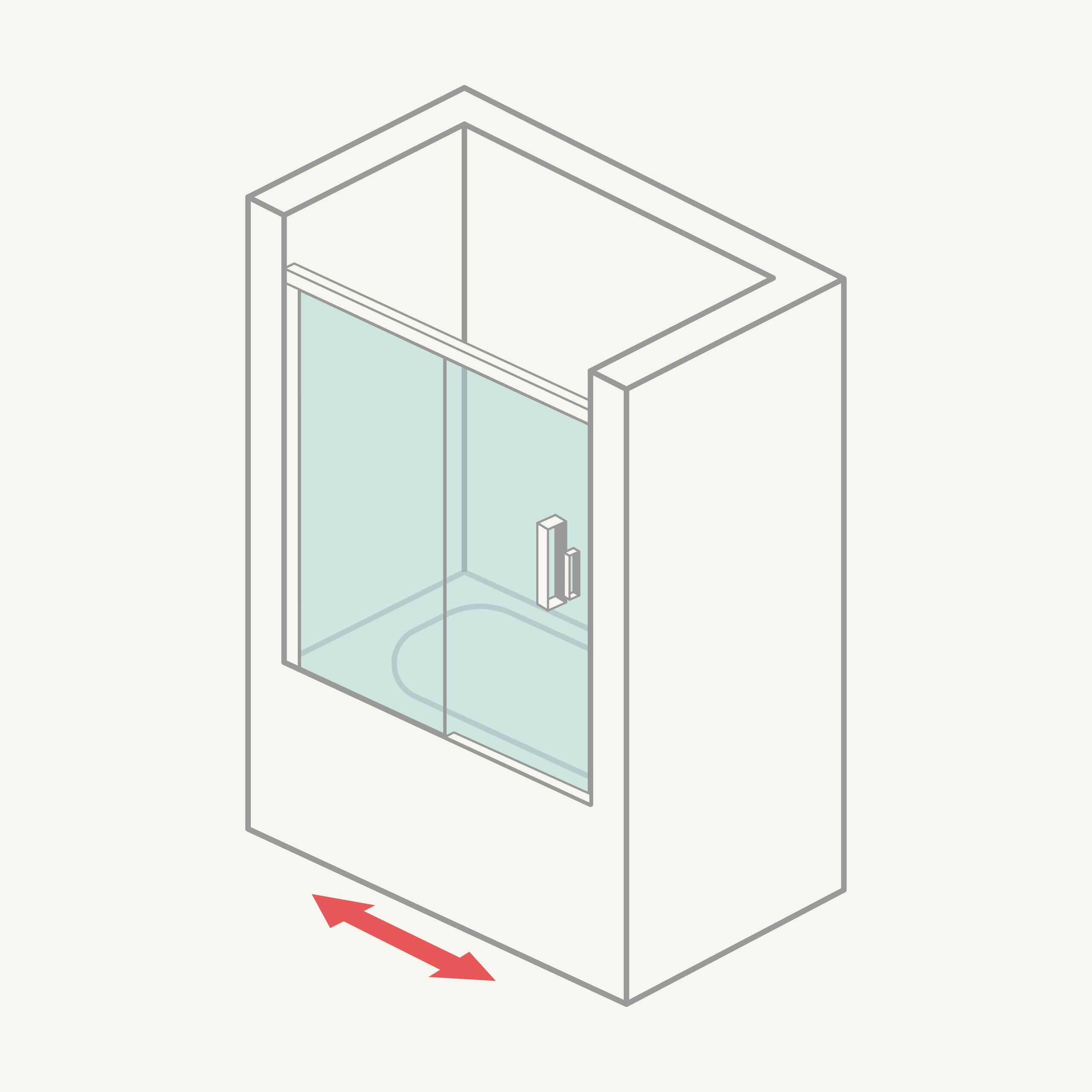 Mampara de bañera frontal (1 fija + 1 corredera)