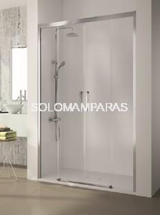 Mampara de ducha -Kassandra- serie 400 (CU100) 2 fijas + 2 correderas, transparente (Antical Easy Clean)