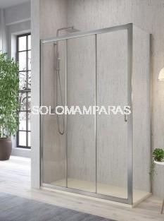Frontal ducha - Kassandra- Diana (DI101+DI103) 3 Hojas (1 Fija + 2 Correderas) + lateral fijo, 5 mm