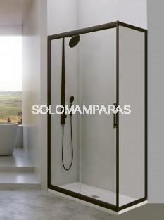 Mampara de ducha Esla 1 fija + 1 corredera de 6mm con perfileria negra con Lateral fijo