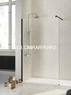Fijo de ducha mampara -Kassandra- Fresh (FR643) 8 mm y perfilería negra (antical Easy Clean)