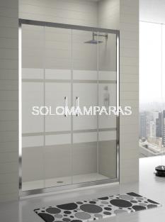 Mampara KASSANDRA SERIE 300 Tr100  Bali,  Frontal 2 fijas + 2 correderas con Antical Easy Clean