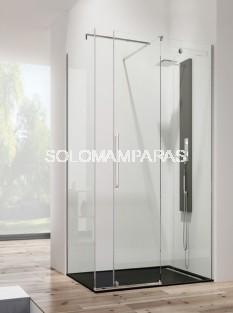 Mampara de ducha Vetrum -GME- (1 fija + 1 corredera + lateral fijo)