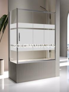 Mampara de bañera - Kassandra- Kaarol (1 fija + 2 correderas + lateral fijo) 6 mm (antical Easy Clean)
