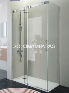 Frontal ducha - Kassandra- Triana (TN102 + TN103) (1 fija + 1 corredera) + 1 lateral fijo, serigrafia Clio (antical Easy Clean)