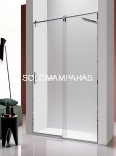 Mampara de ducha -Kassandra- Slim (LM102) (1 fija + 1 corredera) 8 mm y acero inox (antical)