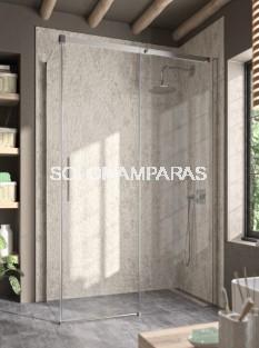 Mampara de ducha -Kassandra- Luna (LU102+LU103) 1 fija + 1 corredera + lateral fijo, perfil plata brillo, 8mm con antical.