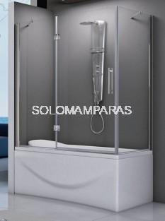 Mampara angular de bañera Amazonas (1 fijo frontal + 1 abatible + 1 lateral fijo) 6 mm