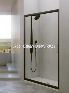 Mampara de ducha Esla 1 fija + 1 corredera de 6mm con perfileria negra