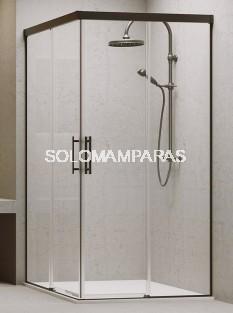 Angular de ducha Aire (2 fijas + 2 correderas) 6 mm con perfileria negra