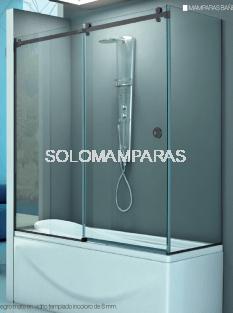 Mampara angular de bañera Rin (1 fija + 1 corredera + 1 lateral fijo) 8 mm con perfileria negra
