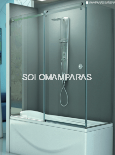 Mampara angular de bañera Rin (1 fija + 1 corredera + 1 lateral fijo) 8 mm