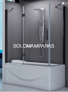 Mampara angular de bañera Amazonas (1 fijo frontal + 1 abatible + 1 lateral fijo) 6 mm con perfileria negra