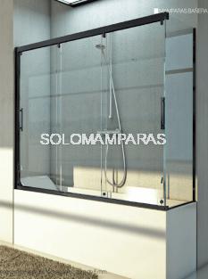 Mampara angular de bañera Cimarrón (3 correderas + 1 lateral fijo) 6 mm con perfileria negra