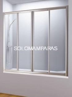 Mampara de bañera Estambul (2 fijas + 2 correderas) vidrio templado y acrílico