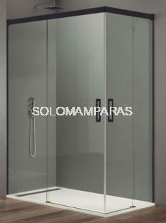 Mampara de ducha Basic -GME- (Angular 2 fijas + 2 correderas) antical y perfilería negra