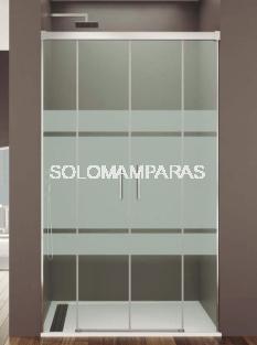 Mampara de ducha Basic Spazio -GME- (2 fijas + 2 correderas) antical y serigrafía frost plus