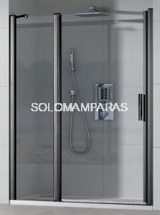 Mampara de ducha Cauca (1 fijo + 1 puerta abatible) 6 mm con perfileria negra