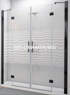 Mampara de ducha Sena (2 fijos + 2 abatibles) 6 mm con perfileria negra