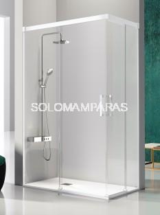 Mampara de ducha angular -Kassandra- Glase (GS607+GS607) (2 fijas + 2 correderas) con perfileria blanca (antical Easy Clean)