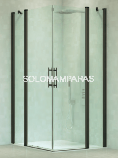Angular de ducha Kali (2 fijas + 2 abatibles) 6 mm con perfileria negra