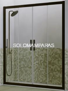 Mampara de ducha Genil (2 fijas + 2 correderas) 6 mm con perfileria negra