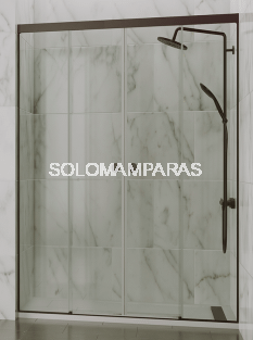 Mampara de ducha Sismeta (2 fijas + 2 correderas) 6 mm con perfileria negra
