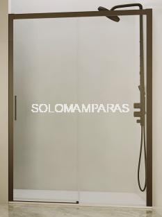 Mampara de ducha Tirso (1 fija + 1 corredera) 6 mm con perfileria negra