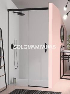 Mampara de ducha -Kassandra- Glase (GS102) (1 fija + 1 corredera) 6 mm con perfileria negra (antical Easy Clean)