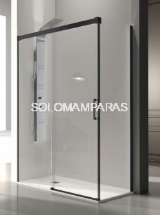 Mampara de ducha -Kassandra- Glase (GS102 + GS103) (1 fija + 1 corredera + 1 lateral fijo) 8 mm con perfileria negra (antical Easy Clean)