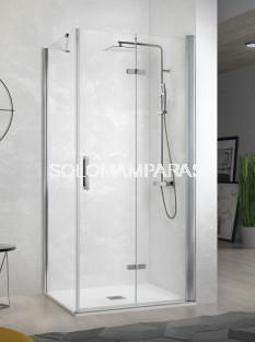 Mampara de ducha -Kassandra- Nardi (NA307) 2 puertas plegables + 1 lateral fijo (antical Easy Clean)