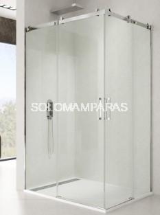 Mampara de ducha angular Rotary -GME- (2 fijas + 2 correderas) acero inox y antical
