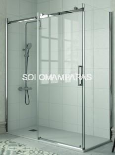 Mampara -Kassandra- Liberty (LI102 + LI103) 1 fija + 1 corredera + lateral fijo, 8 mm acero inox (antical Easy Clean)