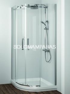 Mampara de -Kassandra- semicircular Liberty (LI130) acero Inox, 8 mm (antical Easy Clean)