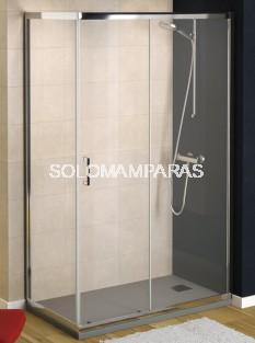 Mampara de ducha Niza (1 fija + 1 corredera + 1 lateral fijo) transparente antical incluido