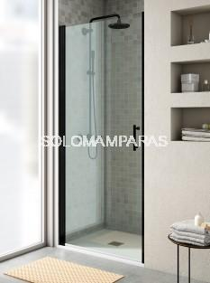 Mampara de ducha Milán de perfil negro -Torvisco- (1 puerta abatible + lateral fijo) antical incluido