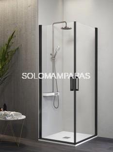 Mampara de ducha angular -Kassandra- Nardi (NA506) (2 puertas abatibles) Transparente, perfil negro