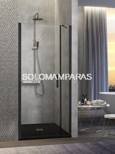 Mampara de ducha -Kassandra- Nardi (NA502) (1 abatible + 1 fijo frontal) Transparente, perfil negro