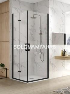 Mampara de ducha -Kassandra- Nardi (NA305) (2 puertas plegables + 1 abatible) Transparente, perfil negro