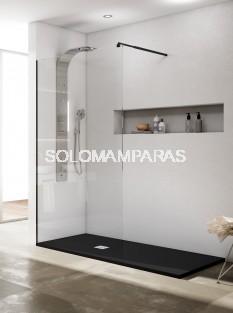 Mampara fija de ducha Rimini -Torvisco- (perfilería negra) 8mm antical incluido