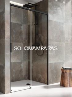 MAMPARA DE DUCHA SALMA (SA-310) DE PROFILTEK, FIJO + CORREDERA PERFIL NEGRO