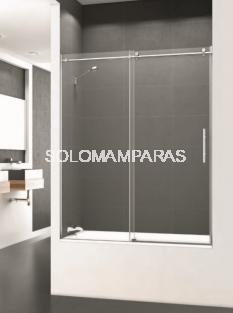 Mampara de bañera Saina -Deyban- 1 fijo + 1 corredera (acero inox) con antical