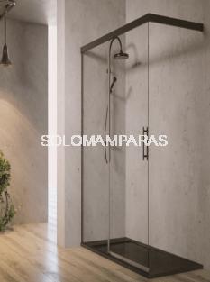 Mampara fija de ducha Sinaloa Black -Hidroglass- (fijo + corredera) 6mm